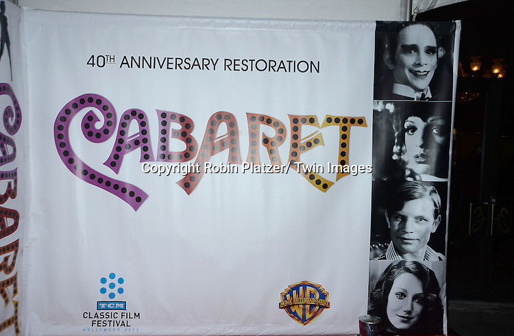 "The backdrop attends the 40th Anniversary of ""Cabaret"" on January 31, 2013 at the Ziegfeld Theatre in New York City. The movie has been remastered and will be on Blu-Ray and DVD. The cast includes Michael York, Liza Minnelli, Joel Grey and Marisa Berenson"