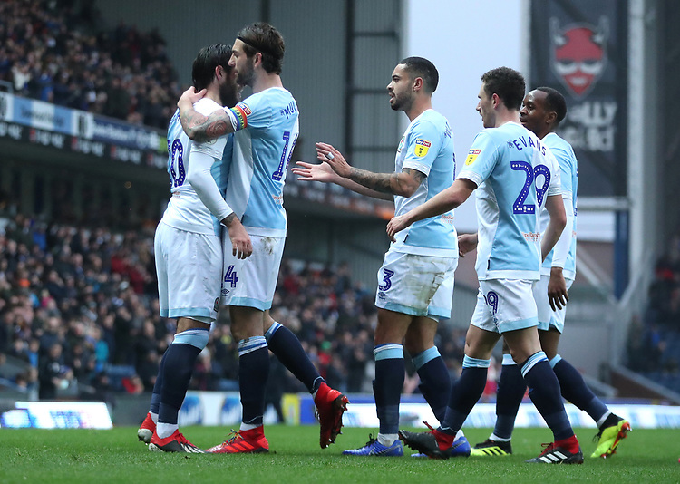 Blackburn Rovers' Danny Graham celebrates scoring his sides first goal with his fellow team mates <br /> <br /> Photographer Rachel Holborn/CameraSport<br /> <br /> The EFL Sky Bet Championship - Blackburn Rovers v Sheffield Wednesday - Saturday 1st December 2018 - Ewood Park - Blackburn<br /> <br /> World Copyright &copy; 2018 CameraSport. All rights reserved. 43 Linden Ave. Countesthorpe. Leicester. England. LE8 5PG - Tel: +44 (0) 116 277 4147 - admin@camerasport.com - www.camerasport.com