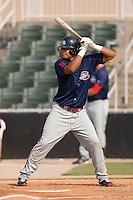 Carlos Fernandez-Oliva (12) of the Greenville Drive at bat at Fieldcrest Cannon Stadium in Kannapolis, NC, Sunday August 10, 2008. (Photo by Brian Westerholt / Four Seam Images)