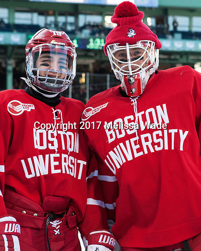 Clayton Keller (BU - 19), Connor Lacouvee (BU - 30) - The Boston University Terriers defeated the University of Massachusetts Minutemen 5-3 on Sunday, January 8, 2017, at Fenway Park in Boston, Massachusetts.The Boston University Terriers defeated the University of Massachusetts Minutemen 5-3 on Sunday, January 8, 2017, at Fenway Park.