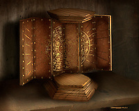 This is the Grimhold Chest opened to reveal the magical symbols that keep it safe.