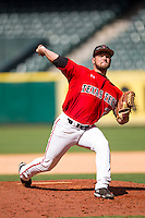 Texas Tech Red Raiders pitcher Nick Pettus #26 delivers a pitch to the plate during the NCAA baseball game against the Sam Houston State Bearkats on March 1, 2014 during the Houston College Classic at Minute Maid Park in Houston, Texas. The Bearkats defeated the Red Raiders 10-6. (Andrew Woolley/Four Seam Images)