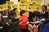 Democratic candidate Kathy Hochul speaks with the news media surrounded by supporters during a rally at UAW Union Hall on May 21, 2011 in Amherst, New York.  Hochul is running for the House of Representatives, NY-26th, in a special election to replace disgraced former Congressman Christopher Lee who abruptly resigned after a sex scandal.  Photo By Mike Janes/Four Seam Images