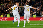 Karim Benzema (L) and Toni Kroos (R) of Real Madrid celebrate goal during La Liga match between Real Madrid and RC Celta de Vigo at Santiago Bernabeu Stadium in Madrid, Spain. February 16, 2020. (ALTERPHOTOS/A. Perez Meca)