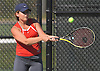 Olivia Faulhaber of Smithtown East returns a shot during the Suffolk County girls tennis Division I doubles final against Half Hollow Hills East at Half Hollow Hills West High School on Tuesday, Oct. 11, 2016.