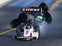 Jul 30, 2016; Sonoma, CA, USA; NHRA top fuel driver Richie Crampton during qualifying for the Sonoma Nationals at Sonoma Raceway. Mandatory Credit: Mark J. Rebilas-USA TODAY Sports