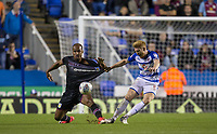 Paul McShane of Reading fouls Gabriel Agbonlahor of Aston Villa during the Sky Bet Championship match between Reading and Aston Villa at the Madejski Stadium, Reading, England on 15 August 2017. Photo by Andy Rowland / PRiME Media Images.