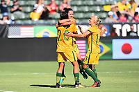 Carson, CA - Thursday August 03, 2017: Lisa De Vanna, Sam Kerr, Tameka Butt during a 2017 Tournament of Nations match between the women's national teams of Australia (AUS) and Brazil (BRA) at the StubHub Center.