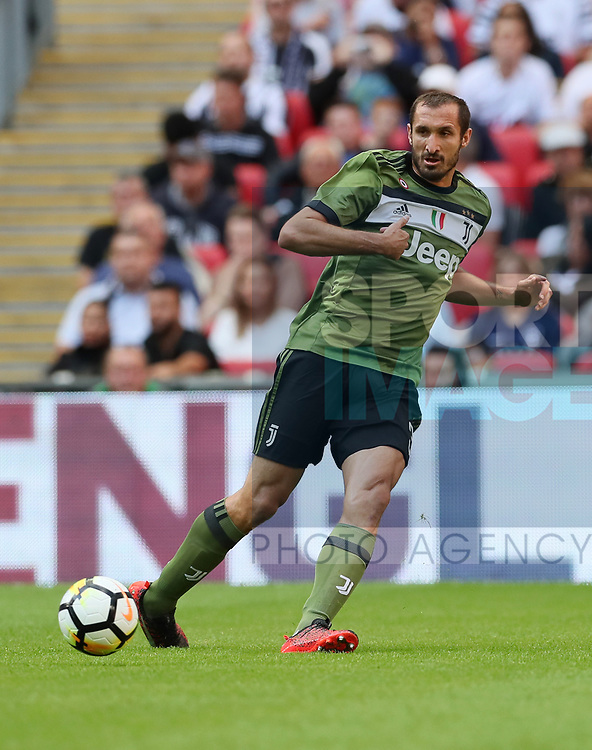 Juventus Giorgio Chiellini in action during the pre season match at Wembley Stadium, London. Picture date 5th August 2017. Picture credit should read: David Klein/Sportimage