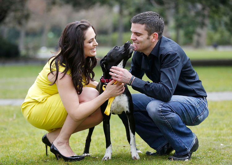 "No Repro Fee..Grainne Seoige and Bernard Dunne, pictured with ""Roxanne"" a rescued dog from the ISPCA at the launch of the Pedigree Adoption Drive 2013 held in St. Stephens Green, Dublin. Pic. Robbie Reynolds"