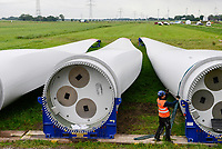 Germany Schleswig-Holstein Nortorf, construction of wind turbine SENVION 3.2M114, performance 3,2 Megawatt, Senvion was part of Suzlon Group