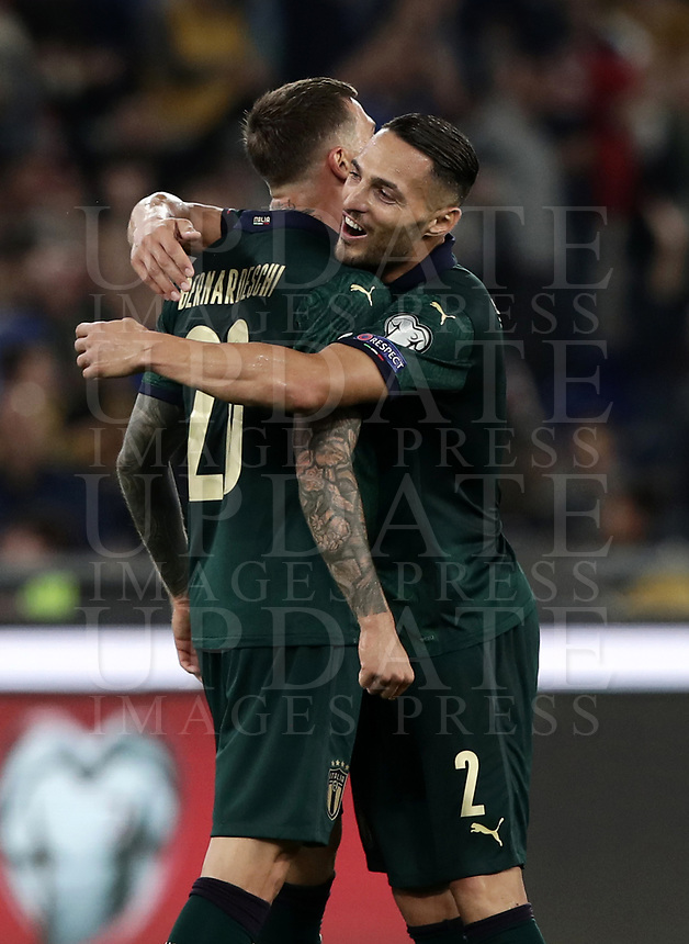 Football: Euro 2020 Group J qualifying football match Italy vs Greece at the Olympic stadium, in Rome, on October 12, 2019.<br /> Italy's Federico Bernardeschi (l) celebrates after scoring with his team mate Danilo D'Ambrosio (r) during the Euro 2020 qualifying football match between Italy and Greece at the Olympic stadium, in Rome, on October 12, 2019.<br /> UPDATE IMAGES PRESS/Isabella Bonotto
