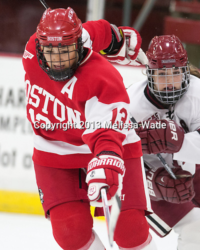 Kaleigh Fratkin (BU - 13), Mary Parker (Harvard - 15) - The Harvard University Crimson defeated the visiting Boston University Terriers 3-1 on Friday, November 22, 2013, at Bright-Landry Hockey Center in Cambridge, Massachusetts.