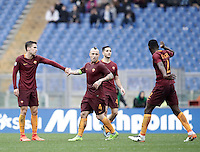 Roma&rsquo;s Kevin Strootman, left, is congratulated by teammates during the Italian Serie A football match between Roma and Napoli at Rome's Olympic stadium, 4 March 2017. <br /> UPDATE IMAGES PRESS/Isabella Bonotto
