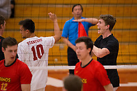 STANFORD, CA - January 2, 2018: Evan Enriques, Eric Beatty at Burnham Pavilion. The Stanford Cardinal defeated the Calgary Dinos 3-1.