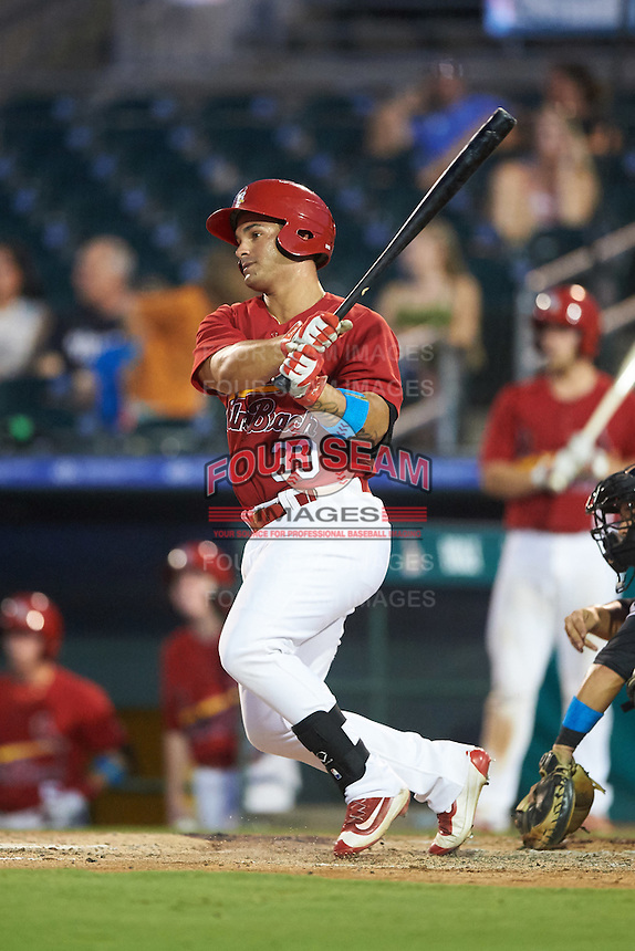 Palm Beach Cardinals right fielder Orlando Olivera (39) at bat during a game against the Jupiter Hammerheads  on August 12, 2016 at Roger Dean Stadium in Jupiter, Florida.  Jupiter defeated Palm Beach 9-0.  (Mike Janes/Four Seam Images)