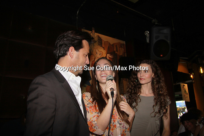 Ricky Paull Goldin and Christina Bennett Lind and Alicia Minshew at All My Children's Good Night Pine Valley was held on September 17, 2011 at Prohibition, New York City, New York.  (Photo by Sue Coflin/Max Photos)
