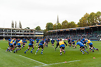 The Bath Rugby team warm up prior to the match. Aviva Premiership match, between Bath Rugby and Worcester Warriors on October 7, 2017 at the Recreation Ground in Bath, England. Photo by: Patrick Khachfe / Onside Images