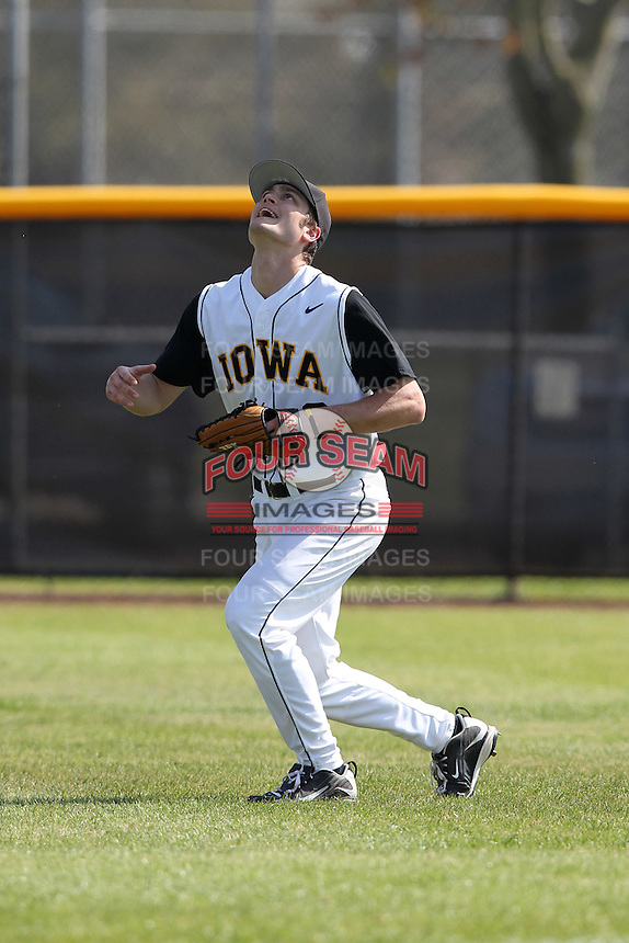 Outfielder Taylor Zeutenhorst #8 of the Iowa Hawkeyes during a game vs the Seton Hall Pirates at the Big East-Big Ten Challenge at Walter Fuller Complex in St. Petersburg, Florida;  February 20, 2011.  Seton Hall defeated Iowa 2-0.  Photo By Mike Janes/Four Seam Images