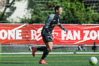 Seattle, WA - Sunday, April 17, 2016: Seattle Reign FC goalkeeper Hope Solo (1) looks to pass the ball during the first half of the match. Sky Blue FC defeated the Seattle Reign FC 2-1 during a National Women's Soccer League (NWSL) match at Memorial Stadium.
