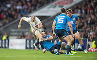 Twickenham, United Kingdom.  Mike BROWN, running withe ball is tackled by Michele CAMPAGNARO, , during the  6 Nations International Rugby Match, England vs Italy at the RFU Stadium, Twickenham, England, <br /> <br /> Sunday  26/02/2017<br /> <br /> [Mandatory Credit; Peter Spurrier/Intersport-images]