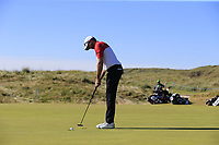Ruaidhri McGee (IRL) sinks his putt on the 3rd green during Friday's Round 2 of the 2018 Dubai Duty Free Irish Open, held at Ballyliffin Golf Club, Ireland. 6th July 2018.<br /> Picture: Eoin Clarke | Golffile<br /> <br /> <br /> All photos usage must carry mandatory copyright credit (&copy; Golffile | Eoin Clarke)