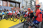 The riders line up for the start of the 2019 Ronde Van Vlaanderen 270km from Antwerp to Oudenaarde, Belgium. 7th April 2019.<br /> Picture: Eoin Clarke | Cyclefile<br /> <br /> All photos usage must carry mandatory copyright credit (&copy; Cyclefile | Eoin Clarke)