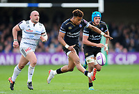 Anthony Watson of Bath Rugby puts boot to ball. European Rugby Challenge Cup Quarter Final, between Bath Rugby and CA Brive on April 1, 2017 at the Recreation Ground in Bath, England. Photo by: Patrick Khachfe / Onside Images
