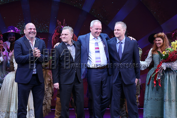 Casey Nicholaw, John O'Farrell, Karey Kirkpatrick, Wayne Kirkpatrick with the cast during the Broadway Opening Night Curtain Call for 'Something Rotten' at the St. James Theatre on April 22, 2015 in New York City.