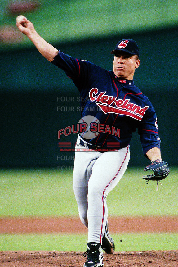 Bartolo Colon of the Cleveland Indians during a game against the Anaheim Angels at Angel Stadium circa 1999 in Anaheim, California. (Larry Goren/Four Seam Images)