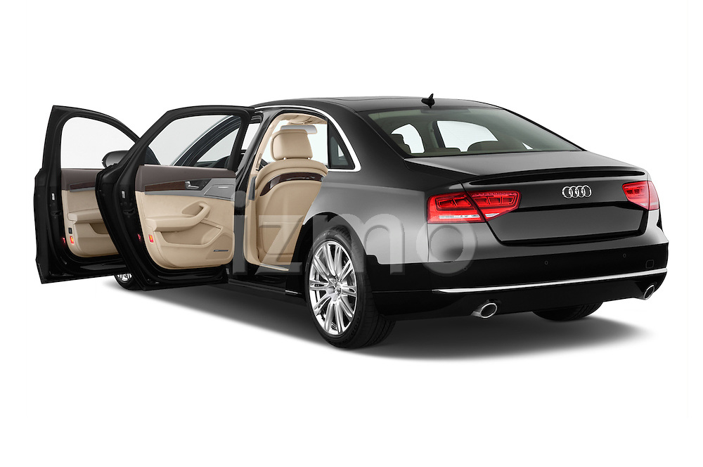 Rear three quarter door view of a 2013 Audi A8 L W12 4 Door Sedan 4WD