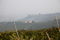 View over the foggy landscape in Piemonte