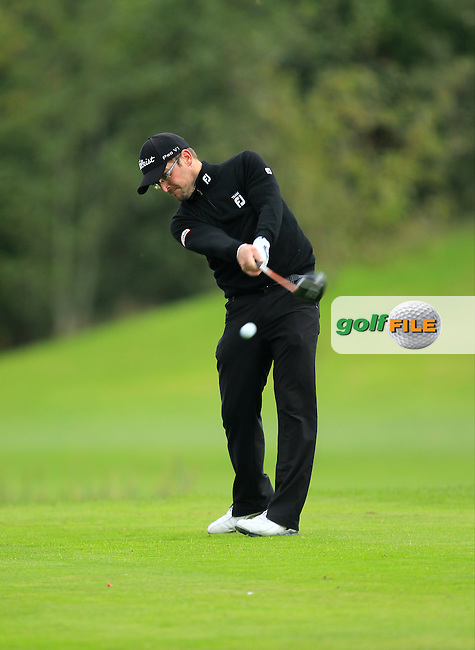 Glen Robinson (St. Helen's Bay Golf Resort) on the 16th tee during Round 3 of The Cassidy Golf 103rd Irish PGA Championship in Roganstown Golf Club on Saturday 12th October 2013.<br /> Picture:  Thos Caffrey / www.golffile.ie