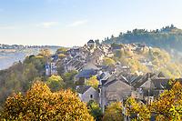 France, Aveyron, Najac, labelled Les Plus Beaux Villages de France (The Most Beautiful Villages of France), view on the medieval village // France, Aveyron (12), Najac, labellisé Les Plus Beaux Villages de France, vue sur le village médiéval