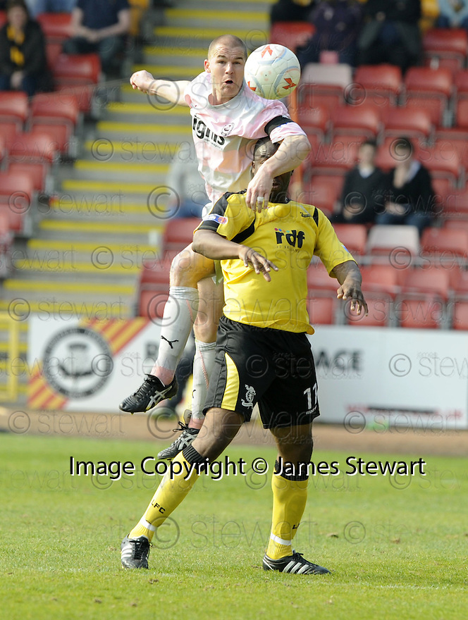 25/04/2009  Copyright Pic: James Stewart.sct_jspa09_partick_v_livingston.PARTICK'S ALAN ARCHIBALD GETS ABOVE ARMAND ONE.....James Stewart Photography 19 Carronlea Drive, Falkirk. FK2 8DN      Vat Reg No. 607 6932 25.Telephone      : +44 (0)1324 570291 .Mobile              : +44 (0)7721 416997.E-mail  :  jim@jspa.co.uk.If you require further information then contact Jim Stewart on any of the numbers above.........