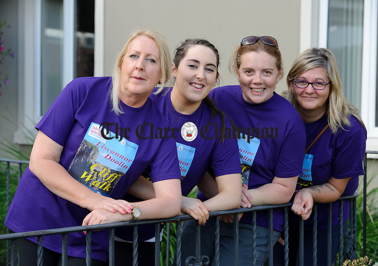 June Carroll, Lisa Carroll, Karen Kelleher and Ursula Whelan about to catch the bus for the Weightwatchers/Clare Champion Liscannor to Cliffs of Moher coastal walk. Photograph by John Kelly.