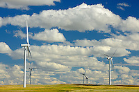 Wind turbines and clouds<br /> Rosenhof<br /> Saskatchewan<br /> Canada