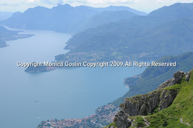A view of Lake Como, Italy from Monte Grona. Monte Grona is a mountain that is 1736m high and above the town of Breglia, near Menaggio on Lake Como, Italy.