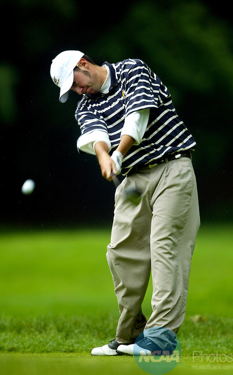 04 JUNE 2004:  Jeff Hood of Cal tees off on the 13th hole during the Men's Division I Golf Championship held at The Cascades at The Homestead Golf Course in Hot Springs, VA.  Hood tied for 10th place, shooting a +2 score in the four round tournament.  Cal won the team national title.  Jamie Schwaberow/NCAA Photos