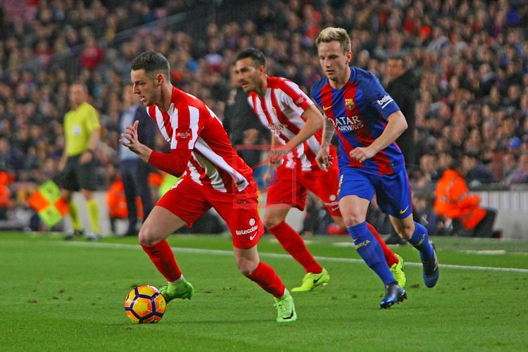 League Santander 2016/2017. Game: 25.<br /> FC Barcelona vs Real Sporting SAD: 6-1.<br /> Burgui vs Ivan Rakitic.