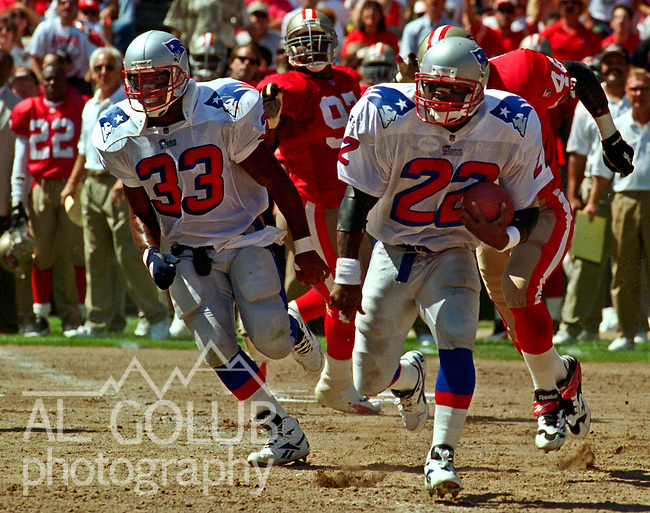 San Francisco 49ers vs. New England Patriots at Candlestick Park Sunday, September 17, 1995.  49ers beat Patriots 28-3.  New England Patriots full back Sam Gash (33) blocks for running back Dave Meggett (22).
