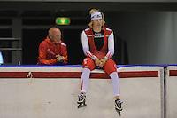 SCHAATSEN: HEERENVEEN: 19-09-2014, IJsstadion Thialf, Topsporttraining, Frits Wouda (trainer Team Corendon), Sjoerd de Vries), ©foto Martin de Jong