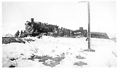 Between Cerri and Boyd Rock, engines #487 and #491 wrecked in the snow.<br /> D&amp;RGW  between Cerri and Boyd Rock, CO