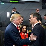 Belgium, Brussels - July 11, 2018 -- NATO summit, meeting of Heads of State / Government; here, Pedro SÁNCHEZ (Sanchez) (ri), Prime Minister of Spain, with Donald TRUMP (le), President of the United States of America; Margarita Robles Fernández (ce), Spanish Defence Minister, observing -- Photo © HorstWagner.eu