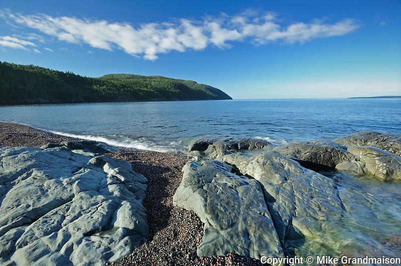 Rocky Lake Superior shoreline at Schreiber Beach<br /> Schreiber<br /> Ontario<br /> Canada