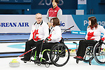 Pyeongchang, Korea, 17/3/2018-Marie Wright, Dennis Thiessen, Ina Forrest, competes in the bronze medal game of wheelchair curling during the 2018 Paralympic Games. Photo: Scott Grant/Canadian Paralympic Committee.