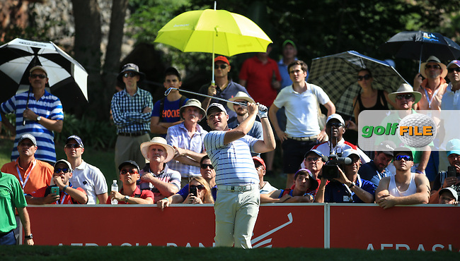 Zander Lombard (RSA) in action on the 16th tee during the Final Round of the 2016 Tshwane Open, played at the Pretoria Country Club, Waterkloof, Pretoria, South Africa.  14/02/2016. Picture: Golffile | David Lloyd<br /> <br /> All photos usage must carry mandatory copyright credit (&copy; Golffile | David Lloyd)