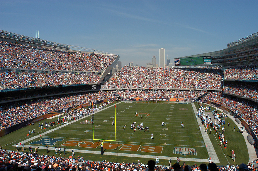 An overall view of Soldier Field in Chicago, IL, during a game between the Chicago Bears and the Detroit Lions on September 10, 2004. (AP Photo/Chris Bernacchi)