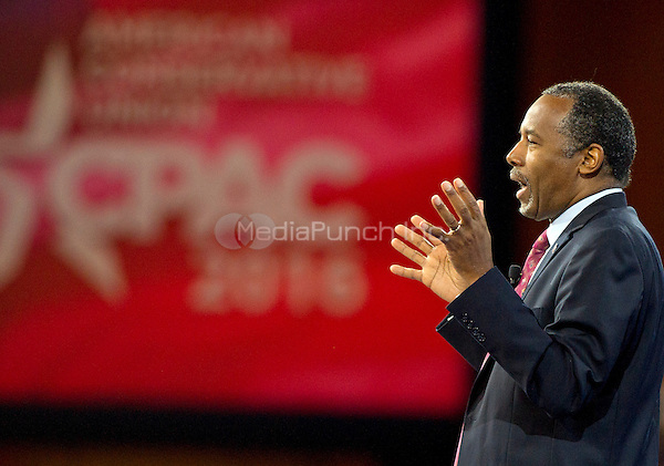 Former neurosurgeon Ben Carson, a former candidate for the Republican Party nomination for President of the United States, speaks at the Conservative Political Action Conference (CPAC) at the Gaylord National Resort and Convention Center in National Harbor, Maryland on Friday, March 4, 2016.<br /> Credit: Ron Sachs / CNP/MediaPunch