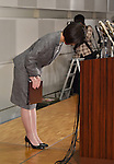 March 27, 2015, Tokyo, Japan - President Kumiko Otsuka of major Japanese furniture retailer Otsuka Kagu Ltd. bows at the end of a news conference in Tokyo following its annual shareholders meeting on Friday, March 27, 2015. In a proxy fight over management, the companys founder and chairman, Katsuhisa Otsuka, 71, sought to overthrow his daughter, Kumiko but shareholders voted down the chairman's proposal and selected a board favorable to his daughter.  (Photo by Natsuki Sakai/AFLO) AYF -mis-